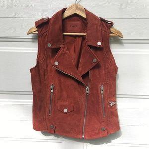 NWOT BlankNYC Leather Vest M Orange Suede Moto